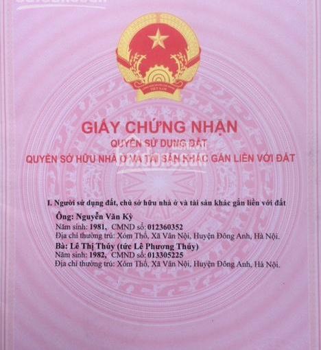 Bán 43m2 đất thổ cư hai mặt tiền tại thôn Viên Nội xã Vân Nội. Cách đường Vân Trì 100m