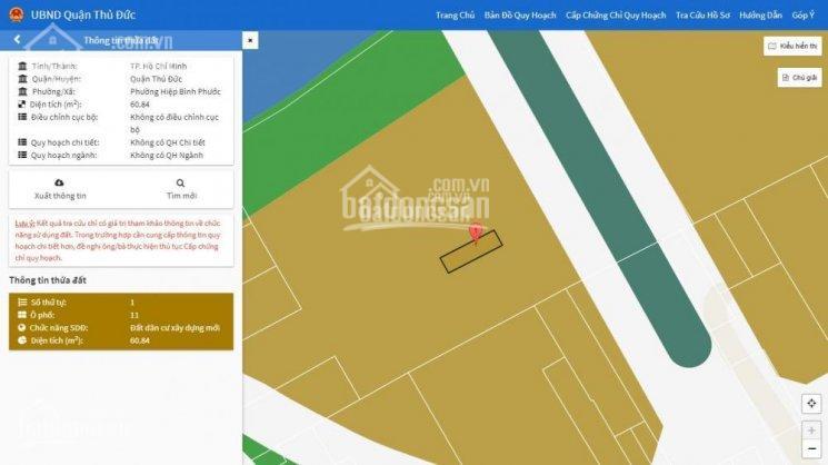 Bán đất đường Quốc Lộ 13, phường Hiệp Bình Phước, Thủ Đức, 60.47m2, hướng TN, SHR, 2.52 tỷ