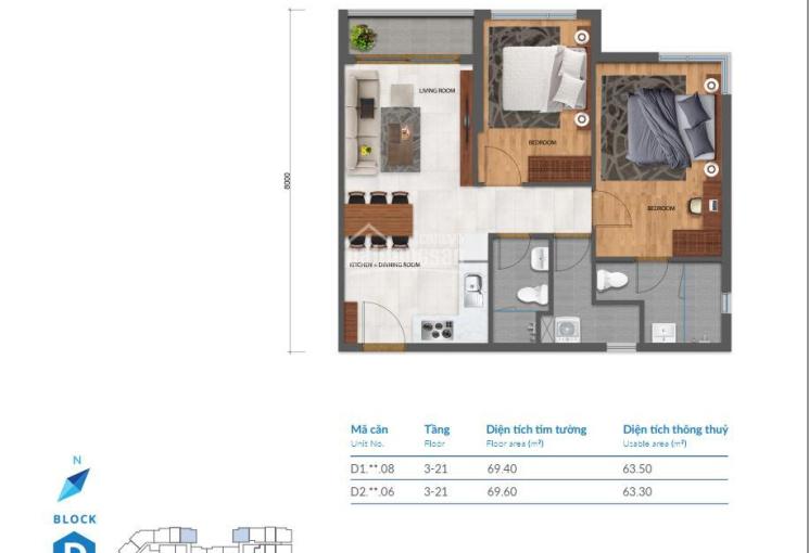 Bán nhanh 2 căn hộ Safira Khang Điền, DT 67m2 loại 2PN/2WC giá bán 2.150 tỷ (Vat), LH 0909.411.822