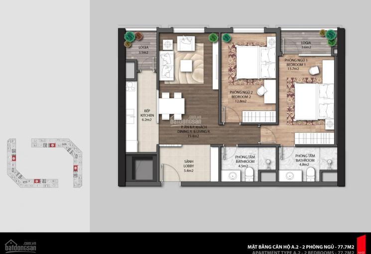 Chính chủ cần bán gấp căn hộ The Emerald CT8 Mỹ Đình, 2PN, cắt lỗ 600tr