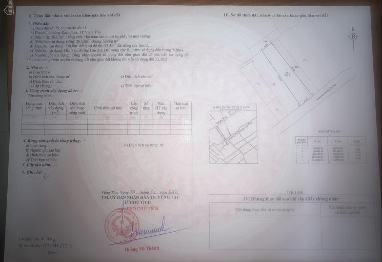 Chính chủ cần bán gấp miếng đất giá tốt P. Rạch Dừa, TP. Vũng Tàu, LH 0901633866