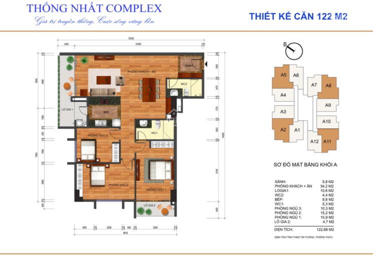 Bán căn hộ 122m2 hướng Đông Nam tầng 10 dự án Thống Nhất Complex giá rẻ nhất dự án