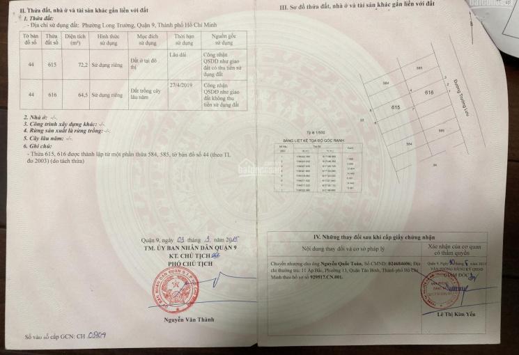 Chính chủ bán đất mặt tiền Trường Lưu quận 9 đối diện khu Centana - HH 1% cho người giới thiệu