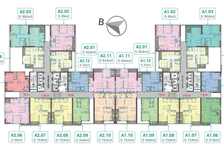 Tôi cần bán căn góc A2 - 1005 dự án Phương Đông Trần Thủ Độ 2 phòng ngủ 2 vệ sinh giá bán 1,51 tỷ
