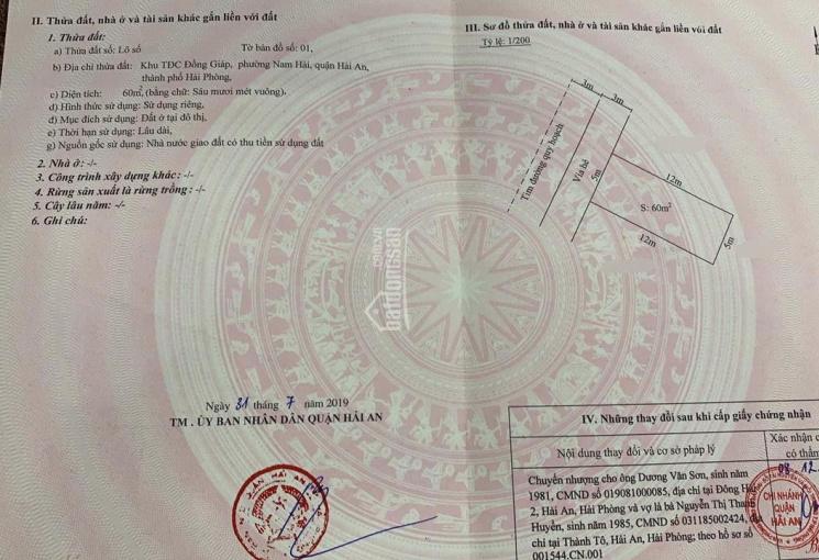 Bán đất 60m2 TĐC Đồng Giáp, phường Đông Hải 2, Hải An, Hải Phòng