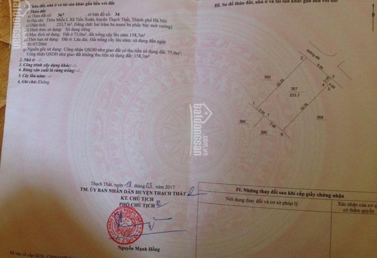 Cần bán 233m2 đất sổ hồng tại thôn Miễu, giáp đại học Quốc Gia Hà Nội. Giá đầu tư
