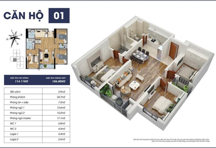 Bán căn hộ chung cư cao cấp 3PN 106m2 đóng 50% nhận  nhà ở ngay tại ngay trung tâm Mỹ Đình