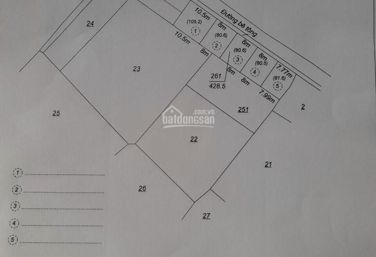 Đất chợ Sơn Hà 80m2, ngang 8m, đường bê tông ô tô, full thổ cư, xây tự do, SHR, giá F0