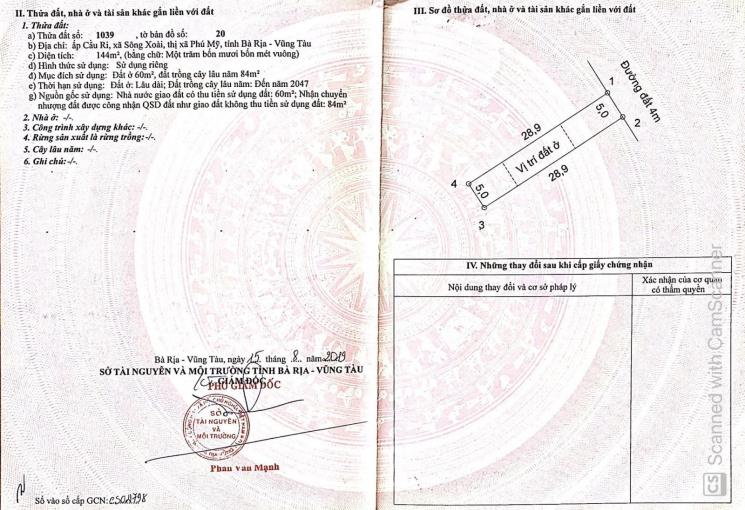 Tôi chính chủ bán cắt lỗ lại lô đất 5x28,6m, 60m2 thổ cư tại TX Phú Mỹ
