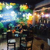 Sang quán và thương hiệu mangotalk smoothie. juice. coffee