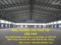 Cho thuê kho, xưởng tiêu chuẩn cao tại cần thơ, vị trí thuận lợi 0939 070 789