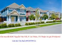 Cần mua đất KDC Nguyễn Văn Tiết, P. Lái Thiêu, TX Thuận An giá 20 triệu/m2, thiện chí mua