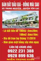 Chính chủ bán 7 lô đất đấu giá Đồng Mái Sau, xã Trung Nguyên, huyện Yên Lạc, cạnh làng nghề Tề Lỗ LH: 0925464666