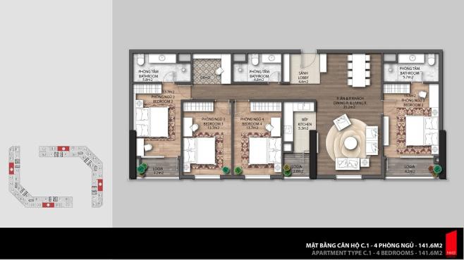 Mặt bằng căn hộ C1 - 4 Phòng Ngủ(141.4 m2)