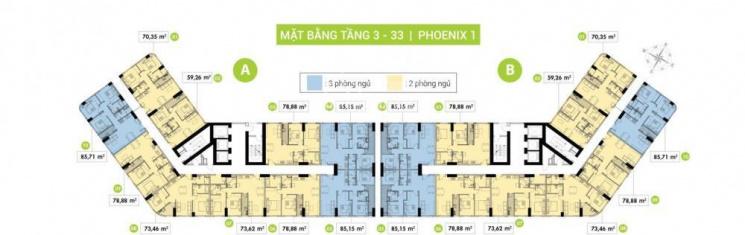 Căn số 2 Topaz Phoenix, Quận 8, DT 60m2, giá 2.180 tỷ, 2 phòng ngủ, 0913158093