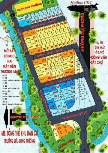 Bán nhanh đất gần ngay chợ long trường, 3 mặt tiền giá chỉ 22tr/m2, dt:80.2m2