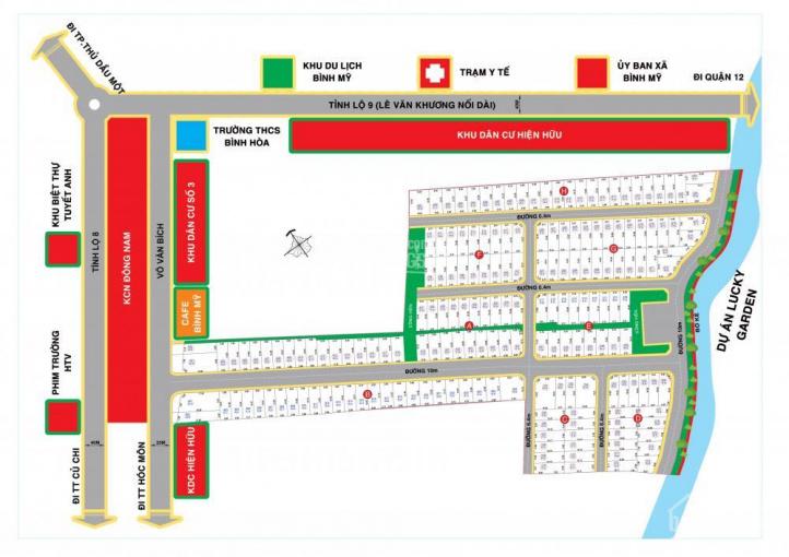 Bán đất dự án Bình Mỹ Riveside tọa lạc mặt tiền Võ Văn Bích, Củ Chi, sổ riêng, thổ cư 100%, XDTD