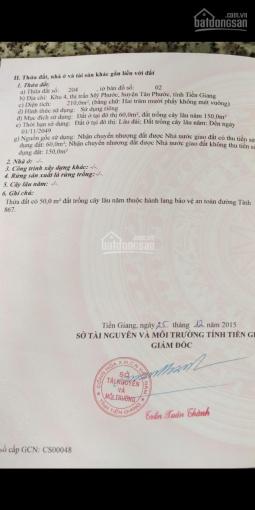 Bán lô đất thổ cư mặt tiền khu trung tâm thị trấn Mỹ Phước, Tiền Giang