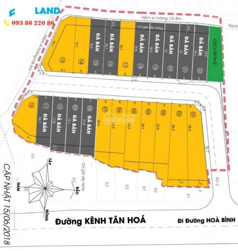 Chỉ còn 2 nền nhà phố liền kề Đầm Sen cách ngã tư Hòa Bình và Kênh Tân Hoá, CK hấp dẫn: 0938622086