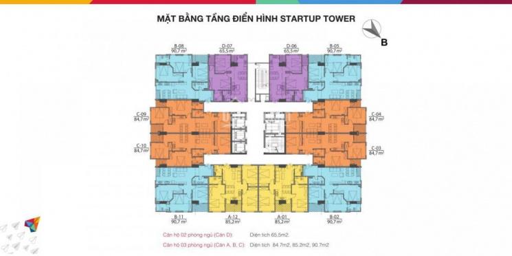 CC cần bán gấp CC Startup Tower, 91 Đại Mỗ, DT: 65,5m2, tầng 10, giá thỏa thuận, LH: 0942350886
