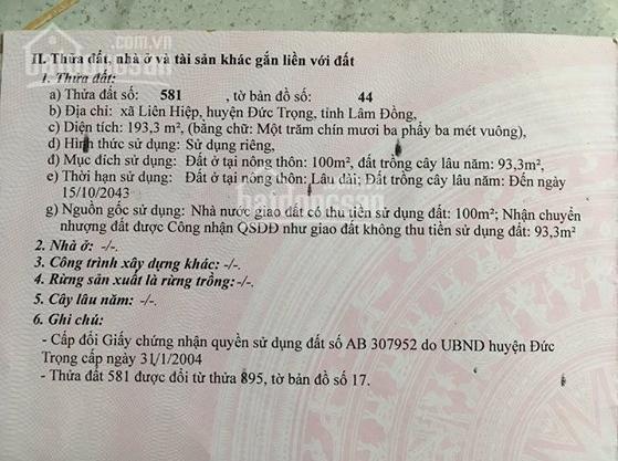 Bán đất thổ cư Đức Trọng, Lâm Đồng, liền kề sân bay, cao tốc Đà Lạt. Liên hệ: 0919286800