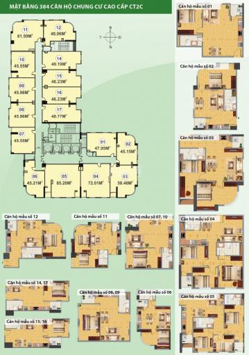 Cần bán chung cư CT2C Nghĩa Đô căn 85m2, hướng ĐN
