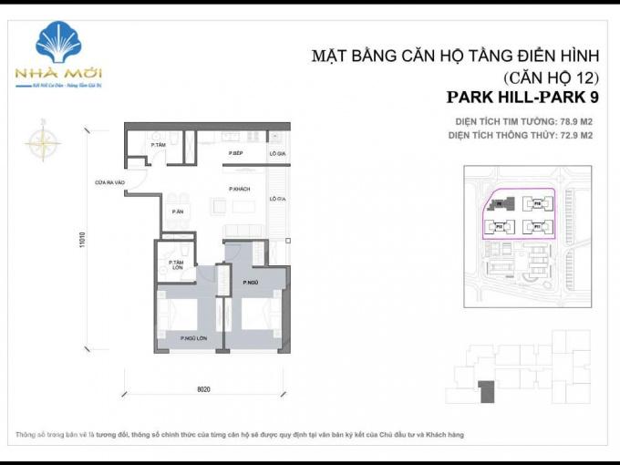 Gia đình cần bán căn hộ thông minh 2PN, 78m2 tại P9 Park Hill Premium, giá 3.1 tỷ bao phí