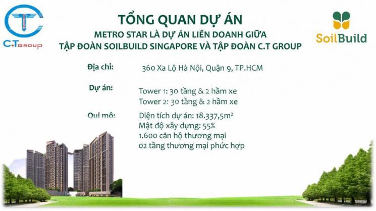 CH cao cấp Metro Star Q9, Xa Lộ Hà Nội, ngay trạm Metro số 10, giá từ 1,7 tỷ/2PN. LH: 0919.060.064