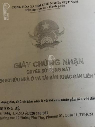 Bán nhà 2 MT số 49 Phú Thọ, P1, Q11 nở hậu 6m (chính chủ 0918 911 311)