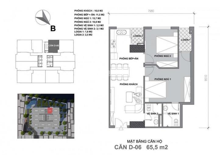 Bán căn hộ Startup Tower ngã tư Vạn Phúc 65.5m2