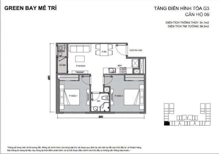 Bán chuyển nhượng căn hộ 2 PN, 1 WC tòa G3 dự án Vinhome Green Bay Mễ Trì. LH 0929137497