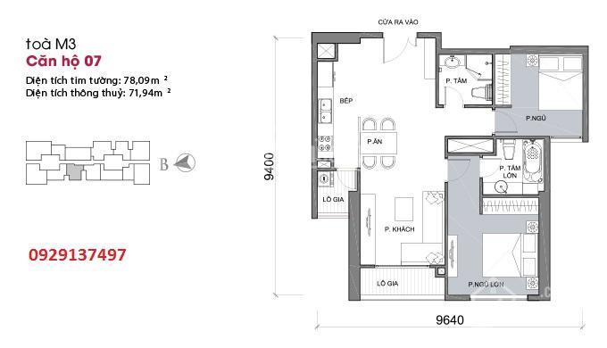 Bán căn hộ full nội thất tòa M3 dự án Metropolis Liễu Giai, căn 2 PN, 71.94m2. LH 0929137497