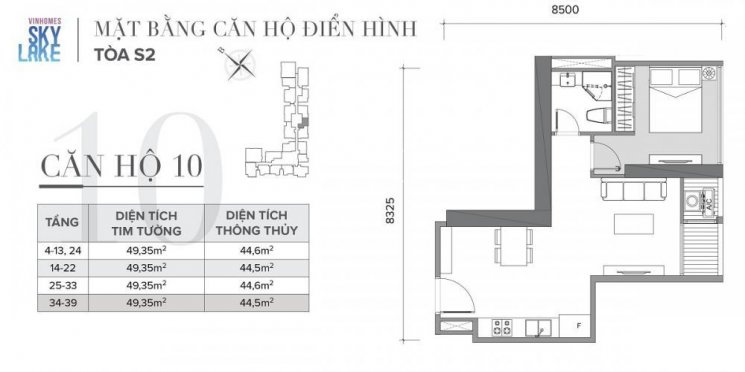 Bán căn hộ 1PN, 45m2 dự án Vinhome Sky Lake Phạm Hùng. LH 0929137497