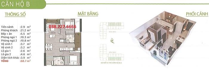 Chung cư Ecohome 3 giá 13.5tr/m2 ~ 460tr 0382276666