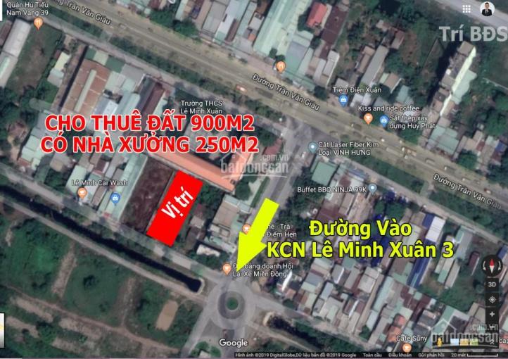 Trí BĐS, cho thuê đất 900m2 (có nhà xưởng 250m2) đường vào khu công nghiệp Lê Minh Xuân 3