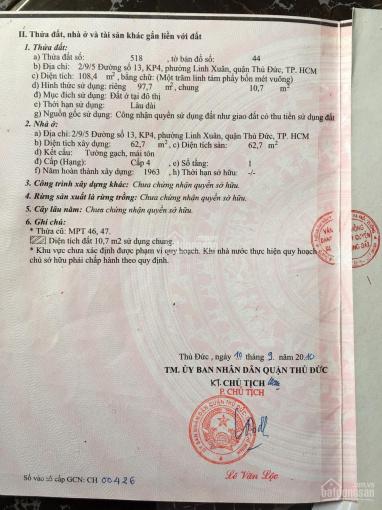 Bán đất gần chợ Linh Xuân, 98m2 (ngang 4mx24.5m), thổ cư 98m2, giá tốt, LH 0909428777
