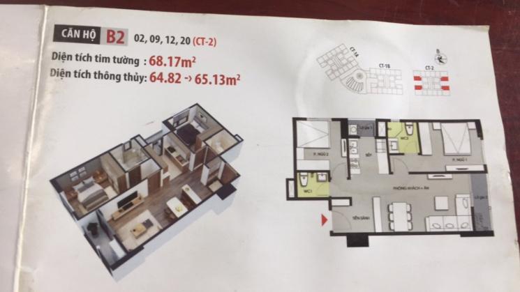 Bán căn hộ toà CT2 khu đô thị Hateco Xuân Phương, Nam Từ Liêm