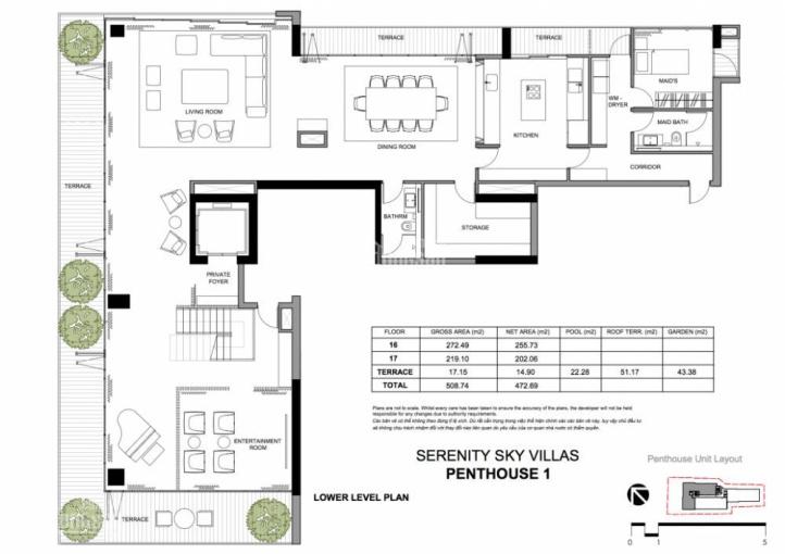 Bán Penthouse Serenity Sky Villa tại 259 Điện Biên Phủ, quận 3 - 0934130268