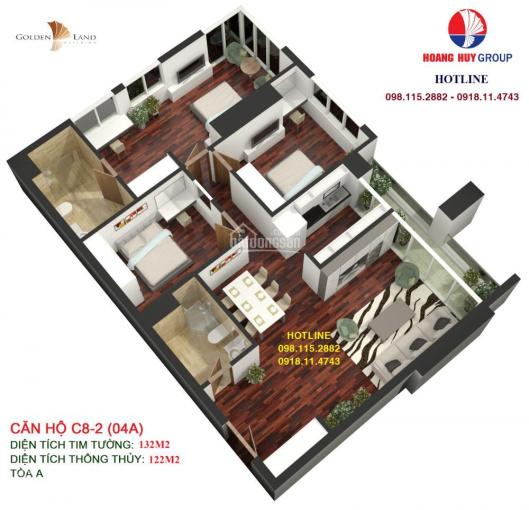 Chính CĐT bán căn góc tòa A Golden Land , DT 132.68m2, giá ưu đãi. LH: 098.115.2882