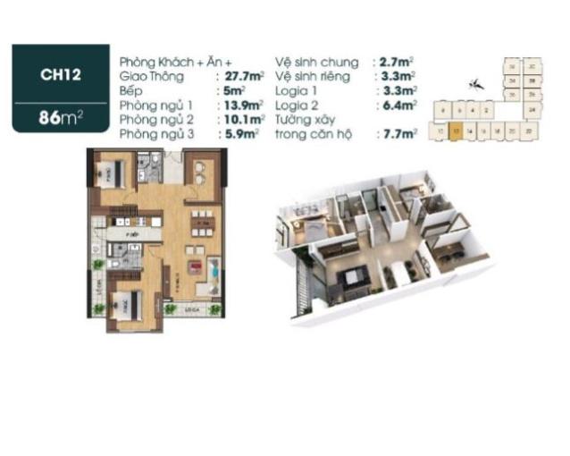 Chỉ từ 600tr sở hữu căn hộ 2PN+1, ban công Đông Nam nội thất, tiện ích cao cấp gần khu ĐT Việt Hưng