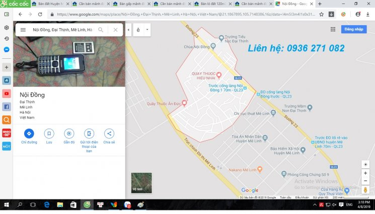 Chính chủ tôi cần bán mảnh đất thổ cư tại trung tâm hành chính Nội Đồng, Đại Thịnh, Mê Linh, Hà Nội