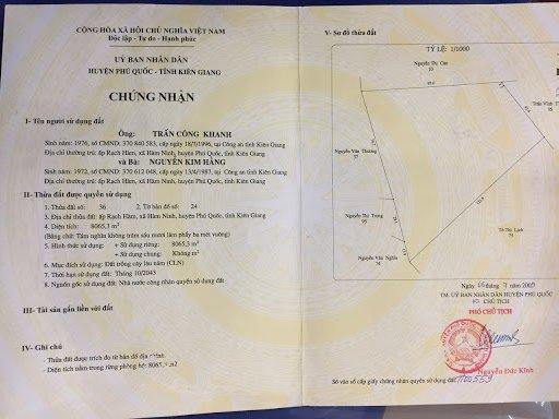 Chính chủ cần bán gấp đất khu vực làng chài Hàm Ninh, Phú Quốc, gần biển giá 3,5 tỷ 1 công