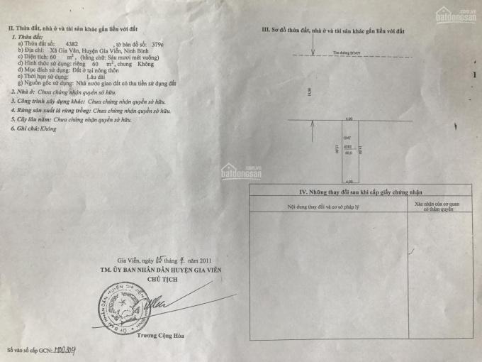 Cho thuê đất làm văn phòng, cửa hàng tại Gia Vân, Gia Viễn, Ninh Bình