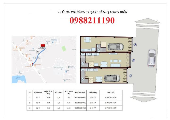Bán 3 căn xây mới 38m2x5T tổ 10 Thạch Bàn, kinh doanh tốt ô tô vào nhà, giá 3,07 tỷ. LH: 0988211190