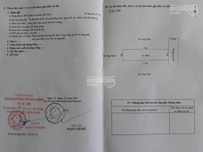 Bán đất ngõ 269 Đằng Hải, Hải An, Hải Phòng