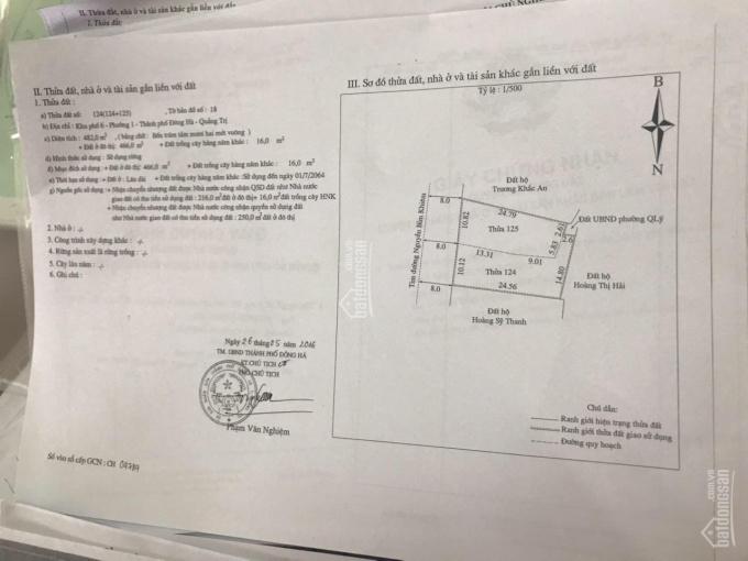 Chính chủ cần bán 500m2 nhà mặt tiền đường Nguyễn Bỉnh Khiêm, thành phố Đông Hà