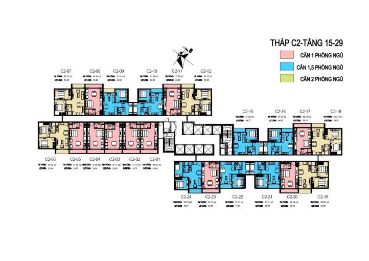 Cần bán căn hộ 1509 tòa C2 dự án D