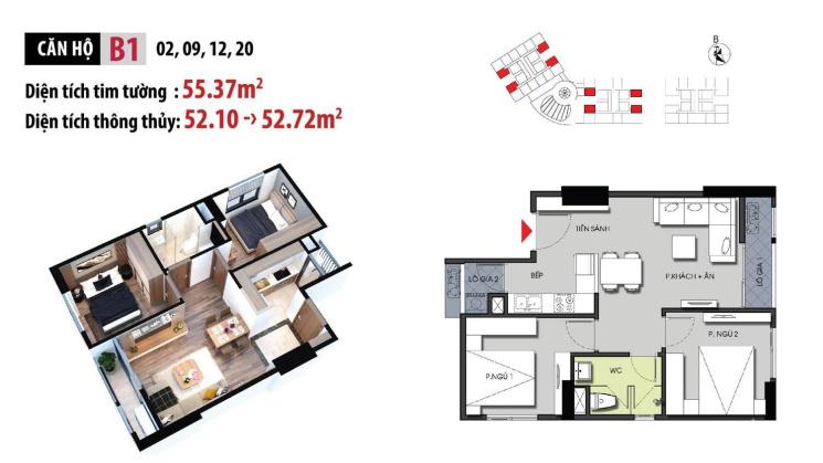 Chính chủ cần bán chung cư Hateco Xuân Phương 2 phòng ngủ, diện tích 52.72m2