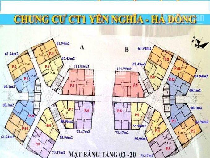 Cần bán gấp CC CT1 Yên Nghĩa, T1502, tòa B, DT 61.98m2, giá bán 12 tr/m2. LH 09619583010
