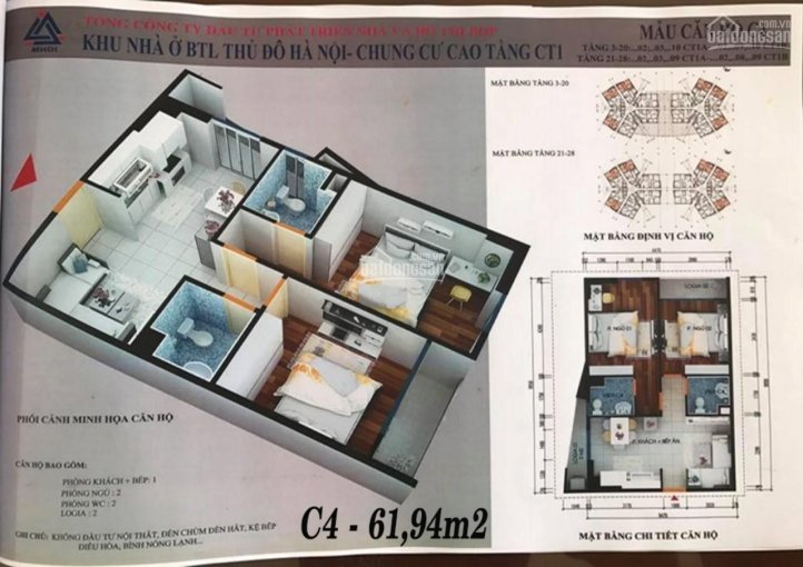 Căn góc 61.94m2, 2PN ban công Đông Nam CT1 Yên Nghĩa chủ nhà cần bán gấp giá gốc chỉ 681 triệu